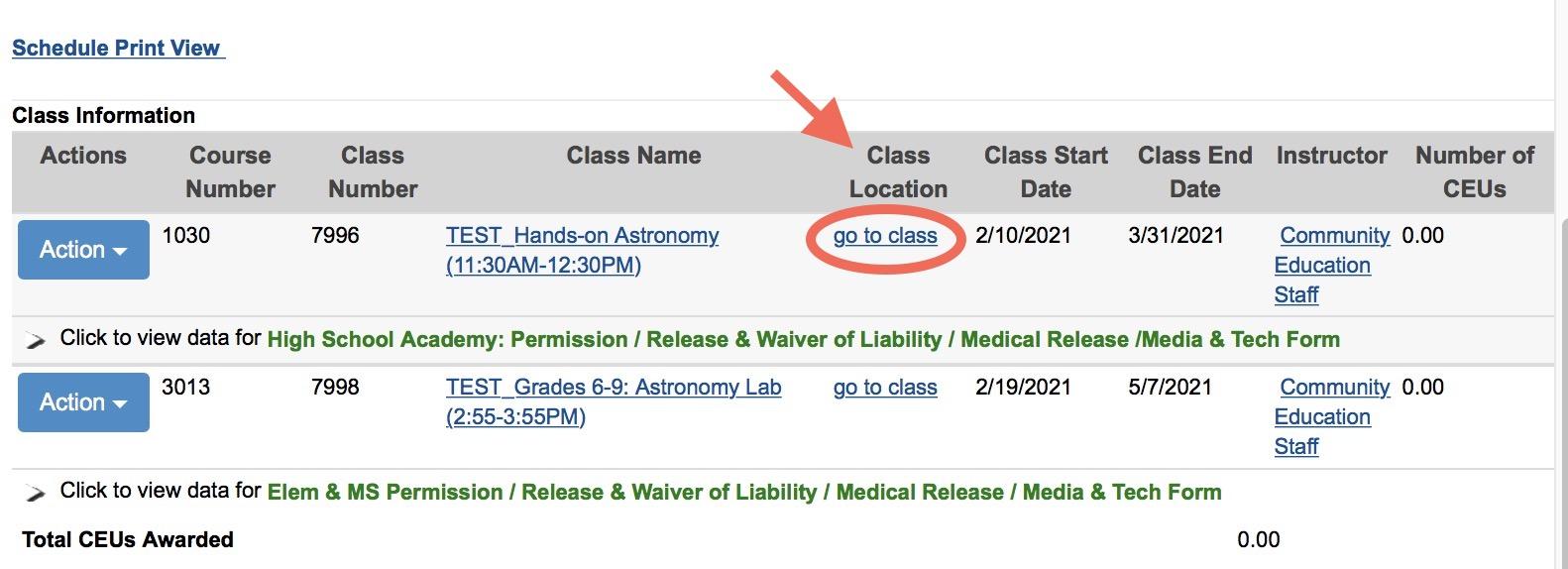 list of current class registrations