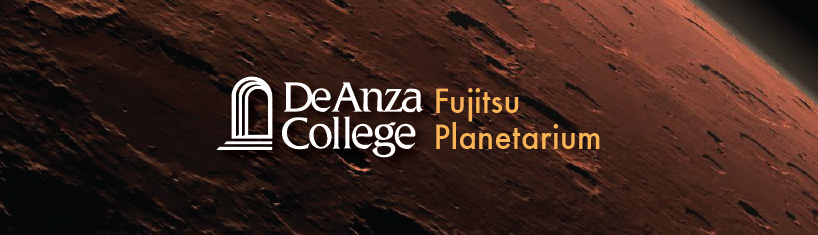 De Anza Planetarium logo over an image of Mars.